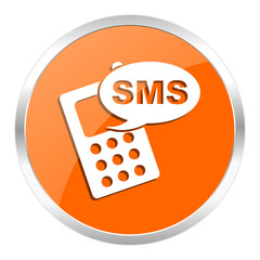 sms orange glossy icon