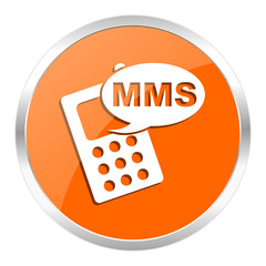 mms orange glossy icon