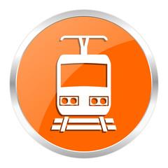 train orange glossy icon