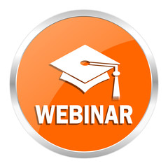 webinar orange glossy icon