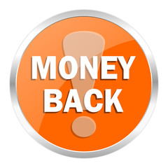 money back orange glossy icon