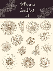 Vector set #1: doodle flowers. Series of doodles.