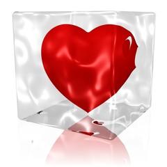 Herz in Eis oder Glas
