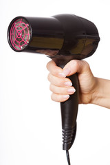 Hand with hair dryer