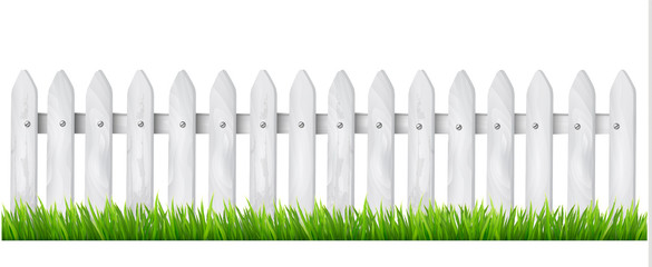 Background with a white wooden fence with grass. Vector.