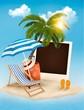 Beach with a palm tree, a photograph and a beach chair. Summer v