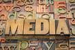 media word in wood type