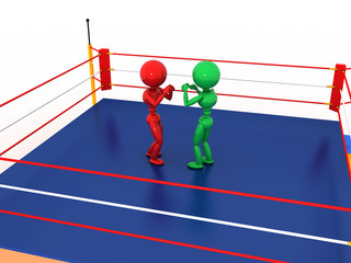 Two boxers in a boxing ring #5