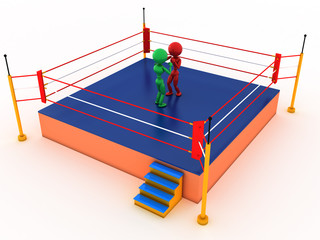 Two boxers in a boxing ring #4