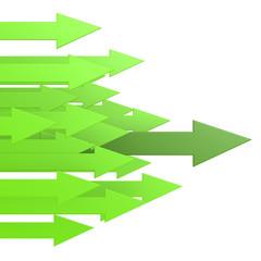 Green leading arrow