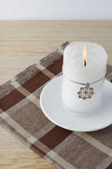 Christmas candle with snowflake