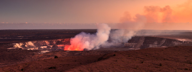 Active Halemaumau Crater At Sunset