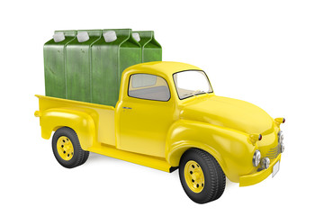 Small lorry with packing of juice from a green apple