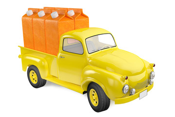 Yellow lorry with packing of orange juice