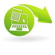 calcul et estimation en ligne sur web symbole vert