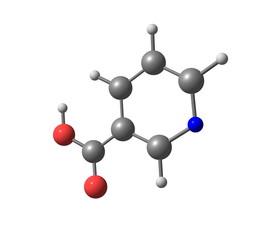 Niacin (B3) molecular structure on white background