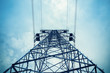 upward view of the power transmission tower - 64809689