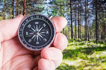compass in hand paves the route through the forest