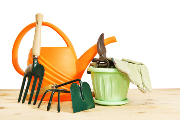 Various garden tools isolated over white background