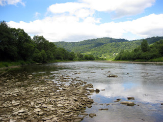 speed mountainous river in Carpathian mountains
