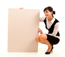 young business woman holding the poster