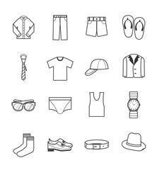 gent clothes icons set