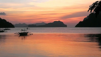 Sunset on a tropical island. El Nido. Philippines.