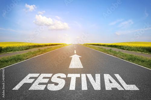 canvas print picture Straße mit dem Wort Festival