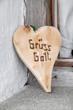 Begrüßung auf Bayrisch: Holzherz mit Grüß Gott