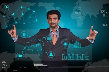 Man showing cloud network server
