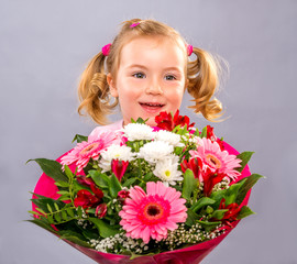 kid with bouquet