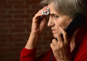 Elderly woman has flu