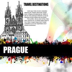 Prague grunge poster