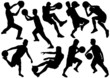 Sports silhouettes with ball