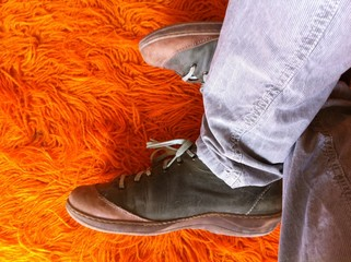 shoes on orange