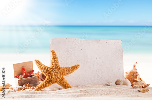 canvas print picture Sandy beach with blank paper for text