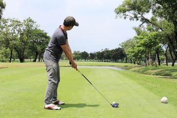 Golfer ready  T-off