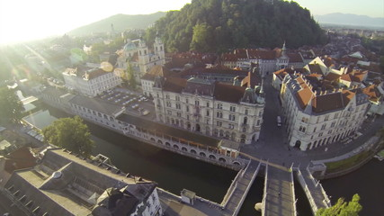 Two scenes of camera motion above downtown of Ljubljana.