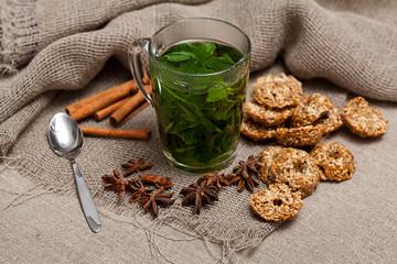 mint tea on the tablecloth