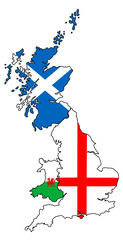 England Scotland Wales outlines with flags overlaid