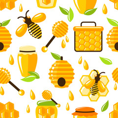 Honey seamless pattern