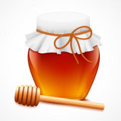 Honey jar with dipper emblem
