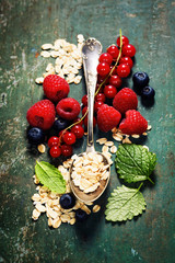 Breakfast with oats and berries