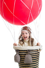 child playing on hot air balloon