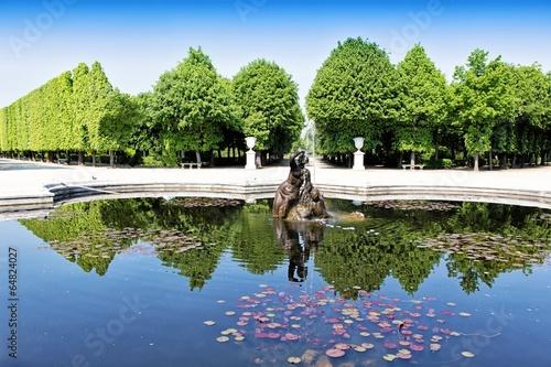 Fountain in Schonbrunn garden in Vienna