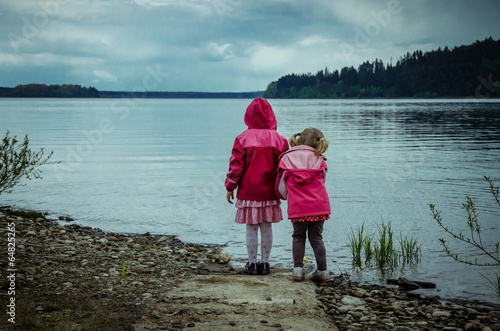 children and lake