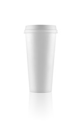 Tall white take-out coffee cup