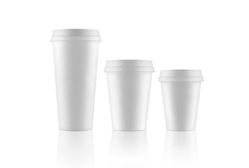 Set of white take-out coffee cups