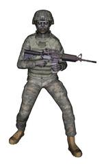 soldato con fucile su sfondo bianco