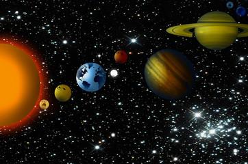 Planetas, sol, estrellas